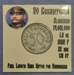 💰 1935 F Germany 50 Reichspfennig Third Reich Germany #192