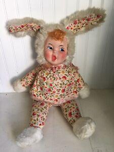 "Vintage Rubber Face Girl Doll Bunny Rabbit Gund Rushton? Cloth Body 27"""