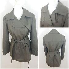 Tu Army Green Jacket Mac Trench Coat with Belt 100% Cotton Size 14 Raincoat