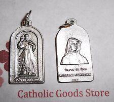 Divine Mercy & St Faustina Kowalska Silver tone Italian (1 inch) Medal