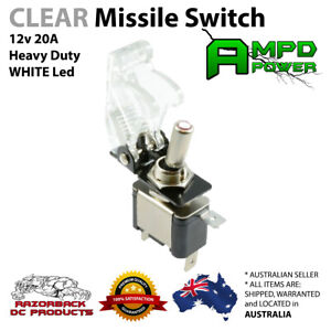 On/Off Toggle Switch WHITE LED Light w/ Missile Cover Heavy Duty SPST 12V/20A