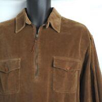 Lauren Ralph Lauren 1/2 Zip Corduroy Shirt Men's Size Large Brown Long Sleeve