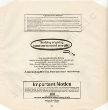"Vintage INNER SLEEVE or SLEEVES 12"" EMI paper blk Important Notice TB dat x 1"