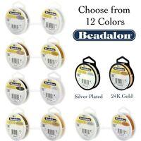 Beadalon 19 STRAND Bead, Gem Stringing Flex Wire (Various Colors + Sizes)