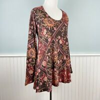 Size Small S Soft Surroundings Womens Red Floral Boho Tunic Top Shirt Blouse New