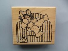 D.O.T.S.  RUBBER STAMPS GIRL ON THE PHONE NEW wood STAMP