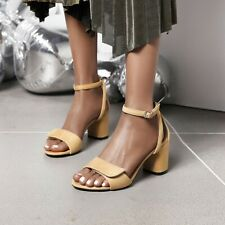 Womens Block Mid Heel Ankle Strap Summer Sandals Open Toe Sexy Party Dress Shoes