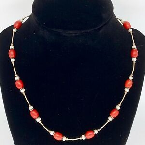"""Paige Wallace Red Beaded 17"""" Necklace"""