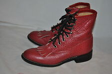 JUSTIN JUNIOR 4 1/2 B Womens YOUTH LACERS ROPER RED Western COWBOY BOOTS USA