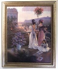 Between Friends by Christa Kieffer s/n AP framed canvas Victorian Paris ladies