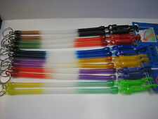 Lot of 12 Coil Key Chain with Plastic Belt Snap Clip