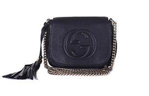 GUCCI Black Leather Soho Disco Gold Chain Crossbody Shoulder Bag Purse