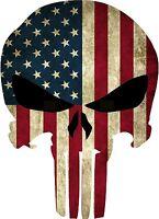 Punisher Skull American Flag Sticker Decal GLOSS Vinyl Diecut 4 Stickers
