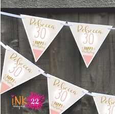 Personalised 18th,21st, 30,40,50,60,70 Birthday Party Banner Bunting Rose & Gold