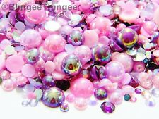 1000 Pink Purple AB Flatback Faux Pearls Mixed Sizes 3/4/5/6/8/10 Rhinestones