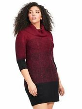 Studio One New York 3X Plus Size Women's Sweater Dress Red Black Cowl Ombre
