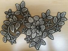 Black/Gold Embroidered Floral Sew-On Applique/Detail/Trim- C1049