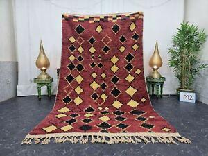 """Moroccan Boujaad Handmade Rug 5'2""""x9' Berber Geometric Maroon Yellow Wool Rug"""