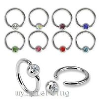 1pc. 20g 18g 16g 14g Surgical Steel CZ Captive Bead Ring Ears Catilage Nose Ring