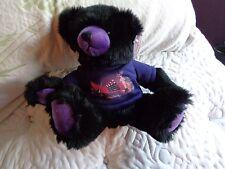 BLACK & PURPLE EXQUISITE MADAME TUSSAUDS CELEBRITY WAX MUSEUM PLUSH TEDDY BEAR