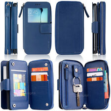 Blue EZY ZIP PLUS Purse Wallet Leather Case Cover For Samsung Galaxy S6