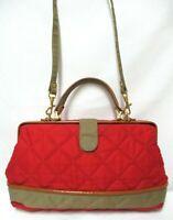 Lisette New York leather quilted fabric Vintage satchel shoulder tote bag framed