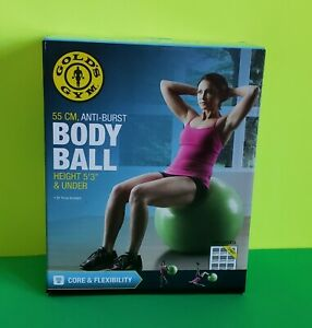 GOLDS  GYM BODY BALL  CORE & FLEXIBILITY 55 CM, ANTI-BURST HEIGHT 5'3'' & UNDER.