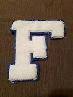 "Vintage White & Blue Felt Backed Patch Letter F Letterman 5"" high"