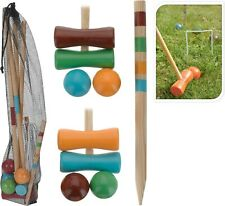 Children's Wooden Croquet Set 20 Pieces 4 Player Outdoor Summer Fun Garden Game