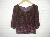 Garage Women's Size Medium Top Semi Sheer Red Pink Paisley Floral Scoop Neck