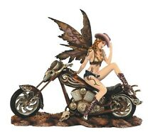 "13"" Cowgirl Fairy on Motorcycle Statue Figurine Figure Fairies Magic Western"