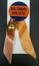 Vintage NBA Baltimore Bullets 2 Inch Pin Back With Ribbons