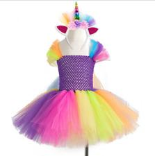 Flower Girls Unicorn Tutu Dress Rainbow Princess Girls Birthday Party Dress ZG9
