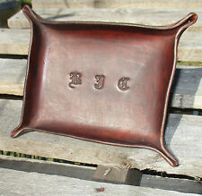 Personalized Leather Valet Tray, trinket tray, Desk Tray, Change tray, bowl.