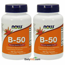 2 x NOW Foods B-50 B-Complex 100 Caps, Support Energy Production, Made In USA