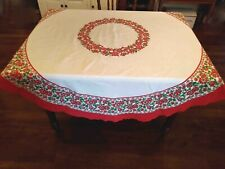 """Vintage Christmas Tablecloth Round - 68"""""""