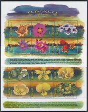 1999 TUVALU FLOWERS SET OF 2 SHEETLETS FINE MINT MNH