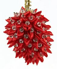 Red Silver Fabric Beaded Spike Ball Christmas Ornament Holiday Decoration