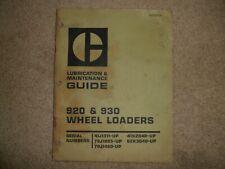 Caterpillar 920 930 Wheel Loaders Lubrication Amp Maintenance Guide Cat Geg02135