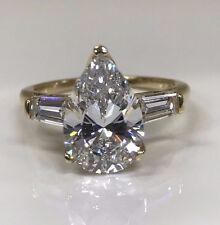 Pear Shape Engagement Wedding Ring 3.50 ctw. 14K Yellow Gold #4575