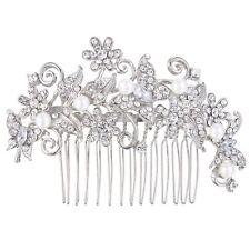 Silver Bridal Wedding Austrian Crystal Ivory Pearl Hair Clip Comb Head Piece