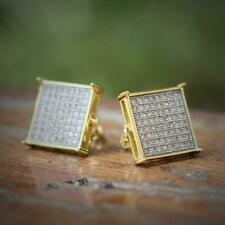 Micropave Earring Stud Round Hip Hop Mens Gold Plated Two Tone Cz