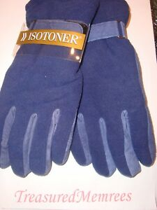 Isotoner Brushed Microfiber Gloves  ~ Size Medium/Large ~ Navy ~ New With Tags