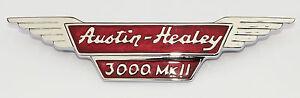 Austin Healey 3000 Mk2, BJ7 BT7 Bonnet Badge Chrome + Red Enamel In-Fill AHB9014