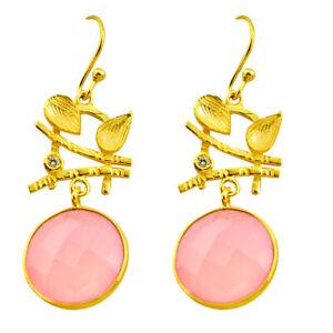 20.33cts Natural Pink Rose Quartz Topaz 925 Silver 14k Gold Earrings P75323