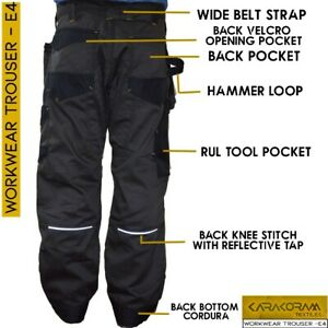 Ibex Elite4 Cargo Trouser Black Grey Trouser For Builders warehouse workwear E4