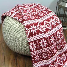 Just Contempo Christmas Nordic Snowflakes Fleece Throw Blanket, Red White,