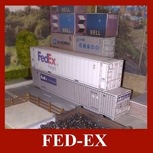 OO Gauge Fed-Ex Mutimodal Model Shipping Containers Card Kits 48ft & 53ft x 5