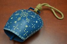 "Handmade Blue Star Rusty Iron Bell With Rope Handler 8 1/2"" #F-1111"