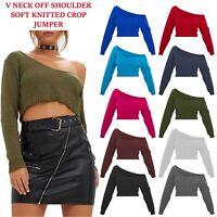 Womens Warm V Neck Off Shoulder Knitted Crop Jumper Ladies Long Sleeve Sweater